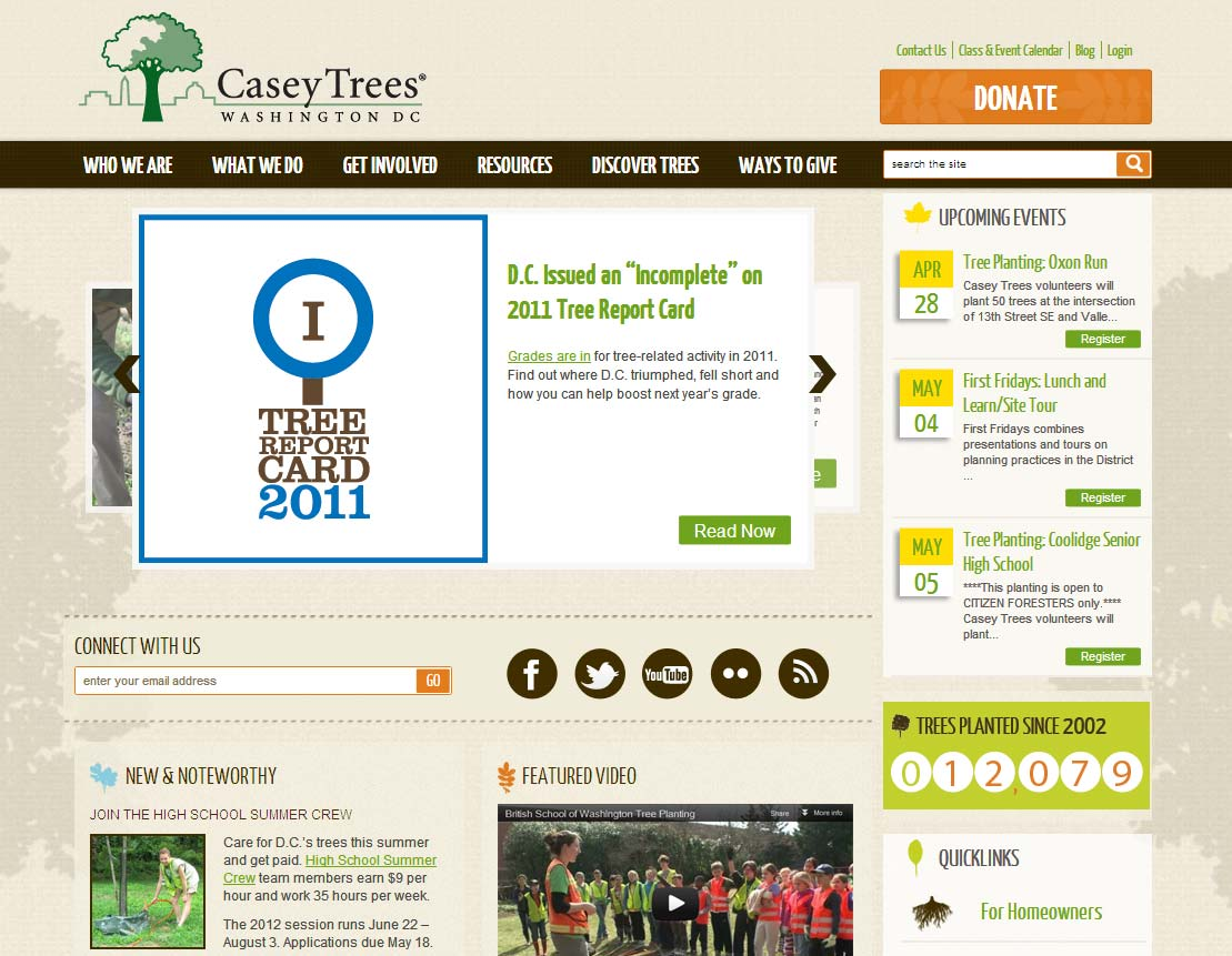 The Casey Trees homepage on a desktop early on after the redesign, with a series of slides and all navigation items visible, including events and the Tree Report Card.